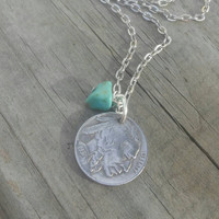 Buffalo coin necklace. Western coin necklace. Tribal turquoise jewelry.