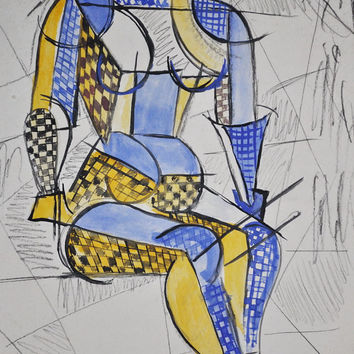 1923 Art Deco Watercolor Painting Female Form Russian Avant-Garde, Abstract, Cubist, Constructivism