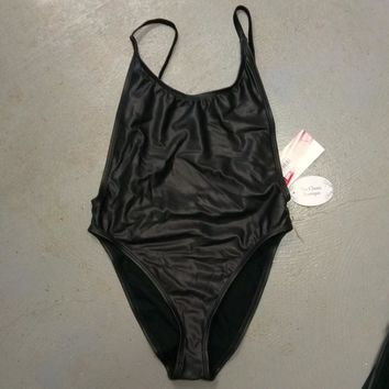 Faux Black Leather One Piece Swimsuit