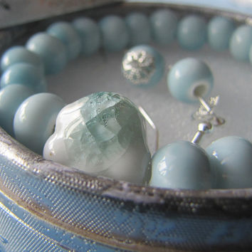 Beautiful Green Ceramic Jade Glass Handmade Bracelet and Earrings in Silver Gift Box, Light Blue Beads. Crackle Glaze