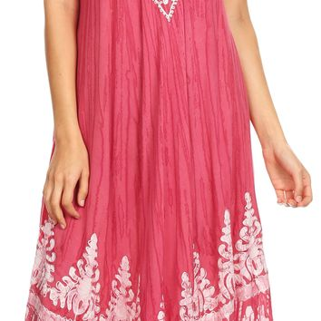 Sakkas Devora Women's Maxi NightGown Caftan Kaftan Dress Tie Dye Batik & Corset