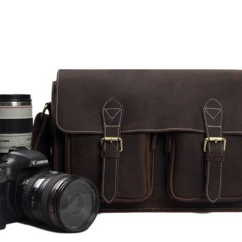 BLUESEBE MEN HANDMADE DISTRESSED LEATHER DSLR CAMERA MESSENGER BAG 6915-C
