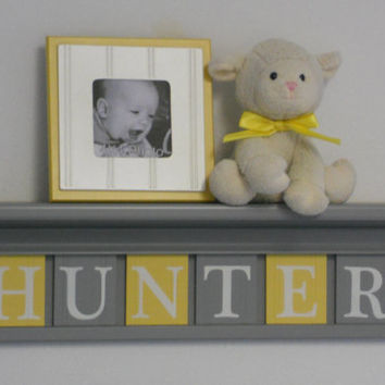 "Baby Boy Room Decoration Name Nursery Decor 24"" Grey Shelf with 6 Wooden Wall Block Letters Yellow and Gray - HUNTER"