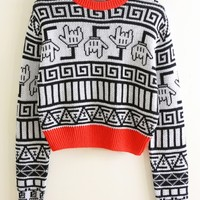 Contrast Geometric Graphic Cropped Sweater - OASAP.com