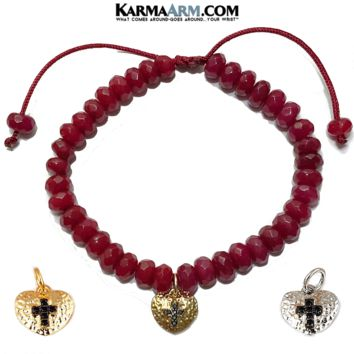Heart & Cross Charm | Red Jade | White or Yellow Gold | Adjustable Reiki Meditation Pull Tie Bracelet