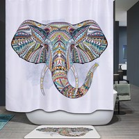 Homing Colorful Indian Elephant Panda Mandala Flower Pattern Shower Curtain Polyester Waterproof Mildew Resistance Bath Curtain