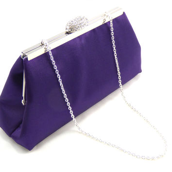 Blackberry Purple and Silver Evening Clutch