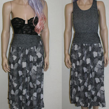 70s Black White Floral Dress / High waist Skirt / Festival Outfit / Boho Grunge / Hippie / hipster gypsy 80s 90s grunge