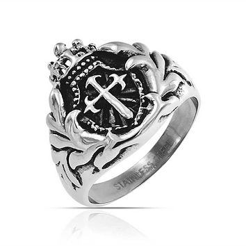 Mens Crown Knight Shield Fleur De Lis Cross Signet Ring Stainless