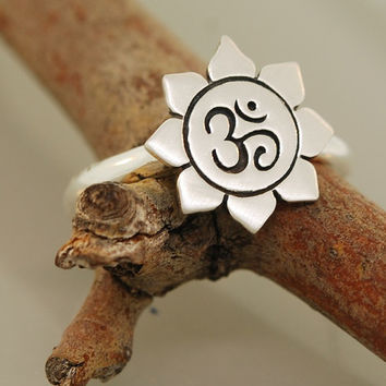 Lotus Om Flower Ring
