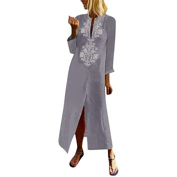 Womens Paisley Long Sleeve Slit Maxi Dress Baggy Cotton Linen Kaftan Dress Slim Soft Touch Dresses Summer New Arrival 2019