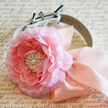 Pink Blush Peonies Floral Dog Collar Wedding Accessory, Dog Birthday