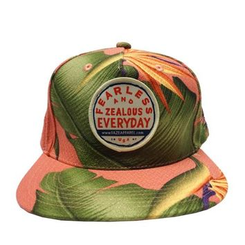 Fearless Paradise Snapback Hat in coral