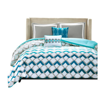 Blue White Geometric Ombre 4 Piece Comforter Set in Twin/Twin Xl
