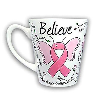 Pink Ribbon Coffee Mug - Butterfly Design for Cancer