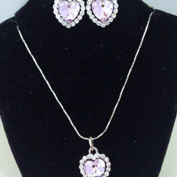 Pink/Lavender Austrian Crystal Heart with Clear Rhinestone Halo Matched Necklace & Dangle Earring Set