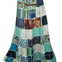 Mogulinterior Womens Maxi Skirts Flowy Green Vintage Ethnic Printed Dori Long Patchwork Skirts