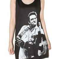 Johnny Cash Charcoal Black Tank Top Sleeveless Tee Rock Shirt Size M