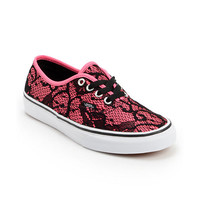 Vans Girls Authentic Neon Pink & Lace Shoe at Zumiez : PDP
