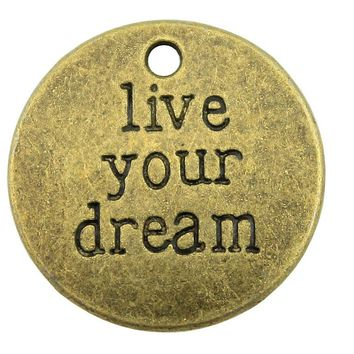 Bronze Color Live Your Dream Pendant Necklace