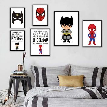 Cartoon Movie Superhero Canvas Print Poster Art Batman Superman Wall Picture Paintings Modern Style Kids Room Deco No Frame