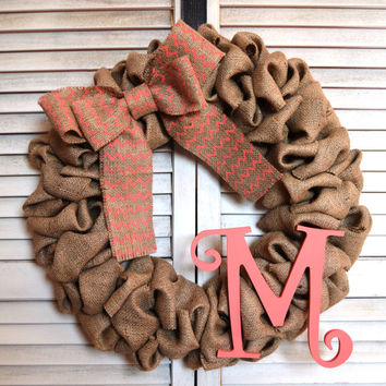Initial Monogram Burlap Wreath | 16 inch Burlap Wreath | Curly Initial | Hand Painted Burlap Bow | Monogram Wreath | Custom Made To Order