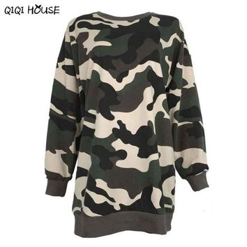 Camouflage Women Sweatshirt Long Pullovers Loose Casual Long Sleeve Jumper Tracksuit Women Moleton Feminina#C905