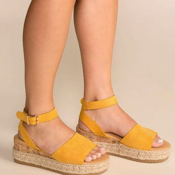 Beautiful Day Mustard Platform Sandals