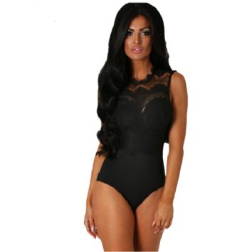 Black Lace Open Back Bodysuit