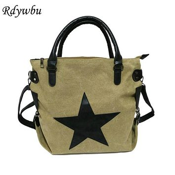 Rdywbu BRAND BIG STAR VINTAGE CANVAS SHOULDER BAG -Casual Plus Size Travel Shopping Messenger Crossbody Tote Handbag Bolsos B218