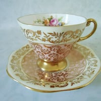 Pink and Gold Chintz Teacup and Saucer Set by EB Foley