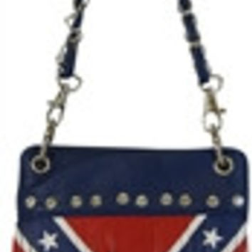 Flag: Confederate Rebel Flag Mini Cross Body Bag Hipster Purse with Fringe