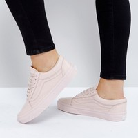 Vans Old Skool Sneakers In Pastel Pink Mono Leather at asos.com