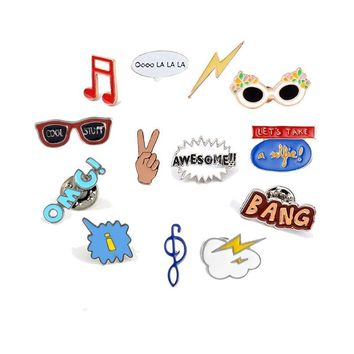 Trendy Fashion Cartoon Brooch Letter Musical Glasses Enamel Pins Women Hat Denim Jackets Collar Pin Badges Child Backpacks Jewelry Gift AT_94_13