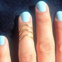 Set of 3 by Tiny Box - 3 Gold Chevron Knuckle Rings - Gold Chevron Above The Knuckle Ring -
