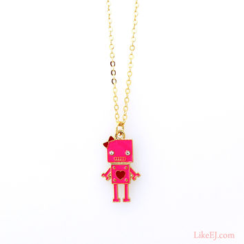 Pink Robot Necklace