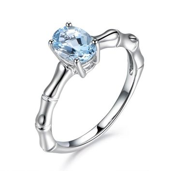 Hainon sky blue CZ Crystal promise rings Silver Color wedding Engagement rings for women Punk Skull  jewelry dropshipping