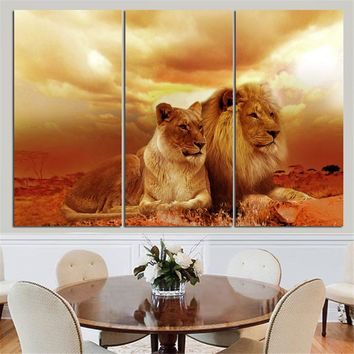 Lions King and Queen  3 Piece Canvas