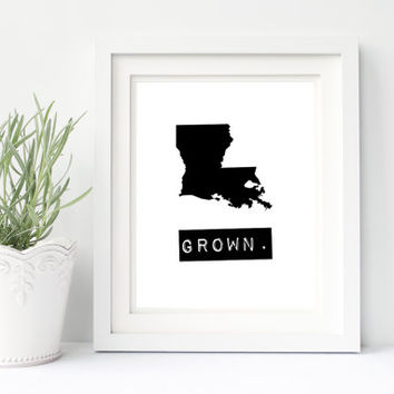 Louisiana print, custom map art, printable wall art, black and white digital download state map, Louisiana home signs, Louisiana state print