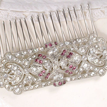Sash Brooch OR Hair Comb, 1920s Art Deco Purple Amethyst & Clear Rhinestone Bridal Pin, Pave Silver Wedding Dress Accessory Gatsby Hairpiece