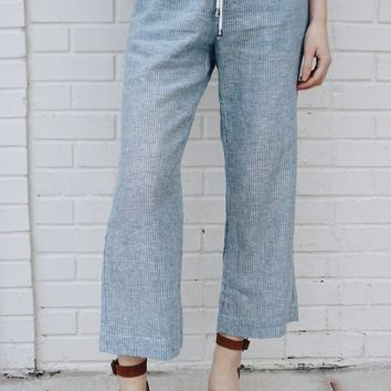 Pin Striped Cropped Trouser
