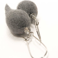 Needle felted earrings - handmade earrings - grey