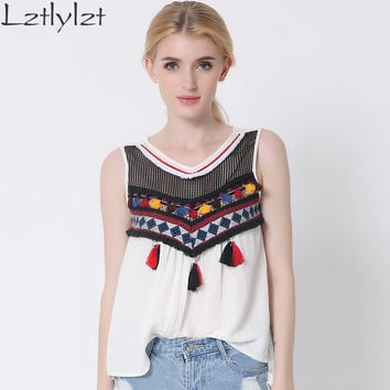Embroidery Tassels Blouse tops Women shirt Casual cotton sleeveless blusa feminina Plus size women's clothes