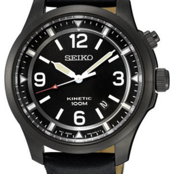 Seiko Mens Core Kinetic Watch - Black Dial - Black Ion Plated - Leather Strap