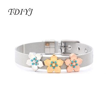 TDIYJ Newest Collection Silver Mesh Stainless Steel Keeper ing Bracelet with Three Flower Slide Charms for Women 1Set