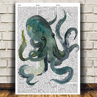 Octopus poster Dictionary print Nautical print Sealife decor RTA1511