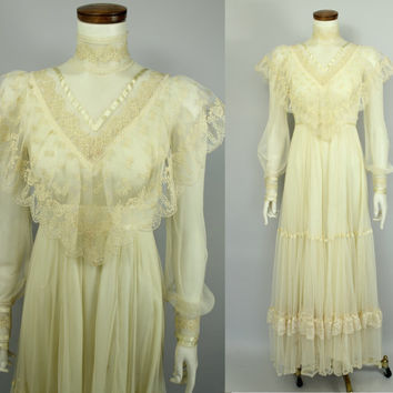 Victorian - Edwardian Style - Ivory - Cream - Lace - Mesh Netting - High Collar - See Through - Bridal Wedding Dress - Gunne Sax Style - 70s