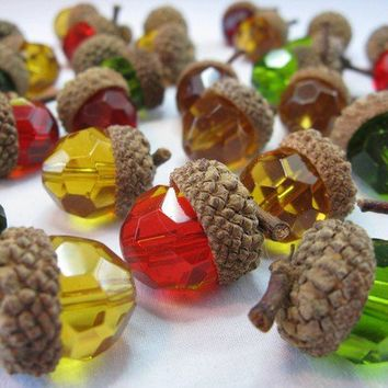 Glass Acorns Green Red Amber Autumn Fall Faceted by WhysperFairy