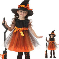 2016 Girls 1 Witch Dress + 1 hat cap Princess Party Dresses Tutu Baby Kids Children Clothing carnival halloween Cosplay Costume