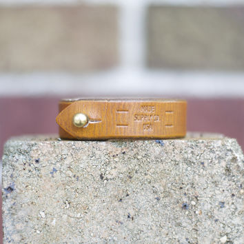 The Lyons - Vintage Tan Leather Unisex Cuff